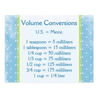 Volume Conversion Post Card