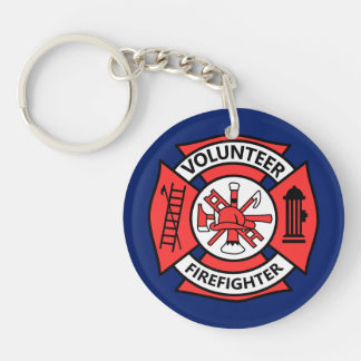 Volunteer Fire Fighter Double-Sided Round Acrylic Key Ring