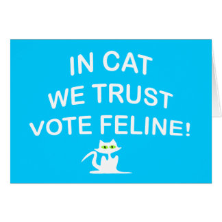 Vote Cat with White Text Card