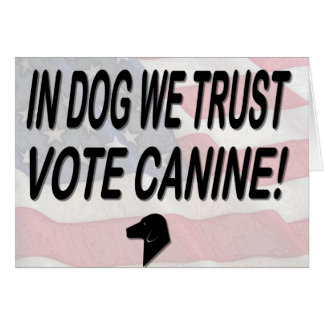 Vote Dog with American Flag Card