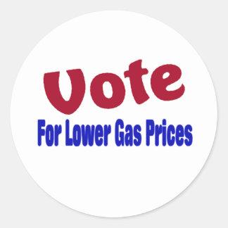 vote for lower gas prices round sticker