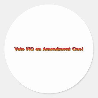 Vote No on Amendment One! Round Sticker