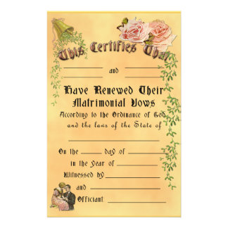 Vow Renewal Certificate - Customizable, Frameable Stationery Paper