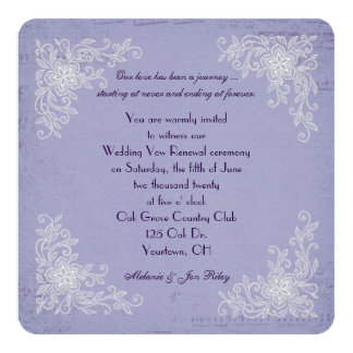 Vow Renewal-lace corners and music background 13 Cm X 13 Cm Square Invitation Card