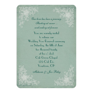 Vow Renewal-lace corners on green texture music 13 Cm X 18 Cm Invitation Card