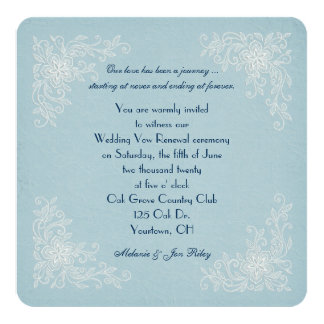 Vow Renewal-lace corners on soft aqua texture 13 Cm X 13 Cm Square Invitation Card