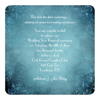 Vow Renewal-teal vintage floral vignette design 13 Cm X 13 Cm Square Invitation Card