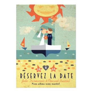 Voyage Vintage Illustration Voilier Réservez Date Card
