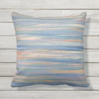 Vulnerable Peach Orange Gold Blue Striped Cushion