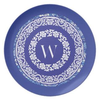 W Weimaraner Blue and White Melamine Plate