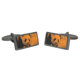wacky art -panda orange (C) Gunmetal Finish Cufflinks