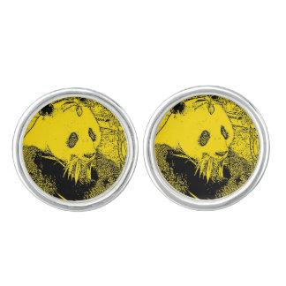 wacky art -panda yellow (C) Cuff Links
