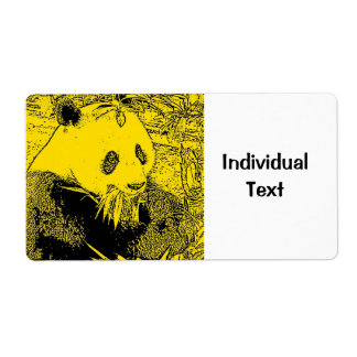 wacky art -panda yellow (C) Shipping Label