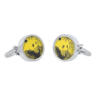 wacky art -panda yellow (C) Silver Finish Cuff Links