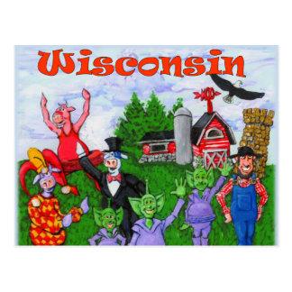 Wacky Wisconsin Cows Postcard