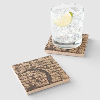 Wagonwheel on Brick Wall Stone Coaster