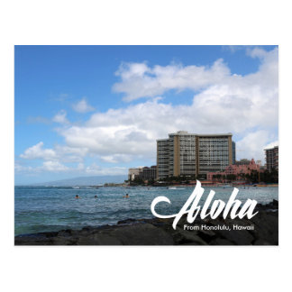Waikiki beach Honolulu Hawaii postcard