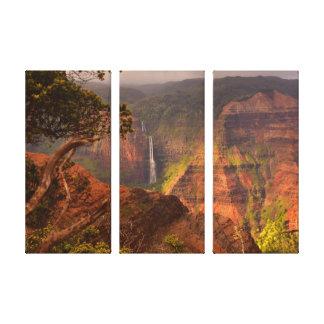 Waimea Canyon Waterfall - Kauai, Hawaii Stretched Canvas Print