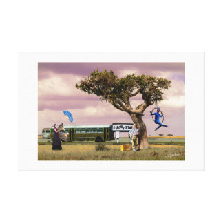 WAITING AT THE BUS STATION - Canvas print