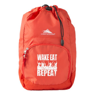WAKE EAT ROCK REPEAT #2 (wht) Backpack