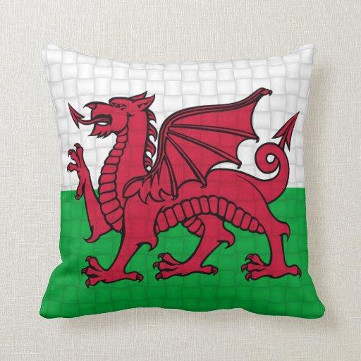 Wales Welsh flag cymru dragon Throw Pillows