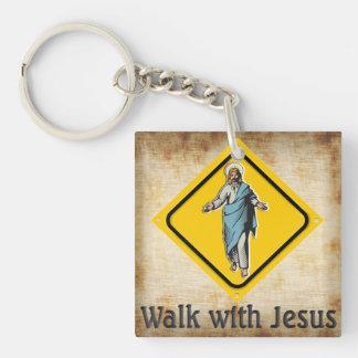 WALK WITH JESUS Single-Sided SQUARE ACRYLIC KEY RING