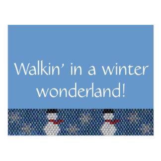 Walkin' in a Winter Wonderland! Beaded Border Postcard