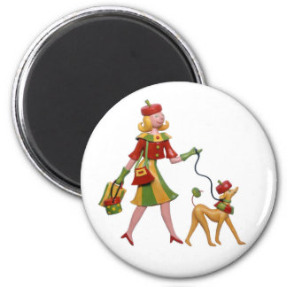 Walking the dog in style! 6 cm round magnet