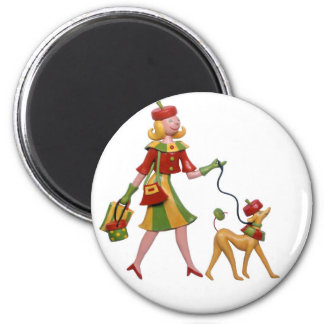 Walking the dog in style! fridge magnet