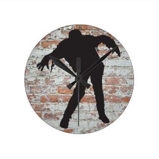 walking zombie silhouette clock