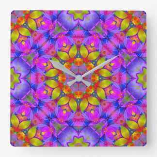 Wall Clock Floral Fractal Art G445