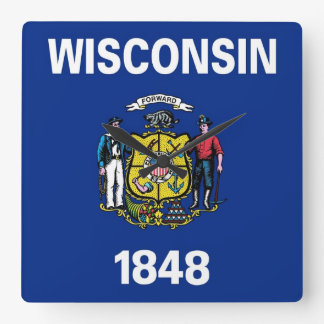 Wall Clock with Flag of Wisconsin, USA
