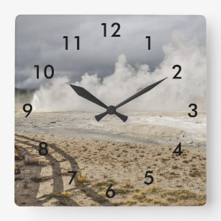Wall of Steam at Spasm Geyser in Yellowstone Square Wall Clock