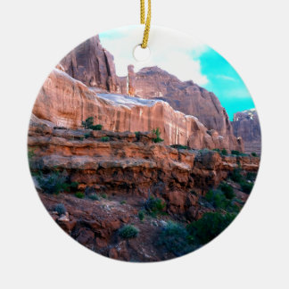 Wall Street trail Arches National Park Round Ceramic Decoration