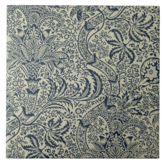 Wallpaper with navy blue seaweed style design large square tile