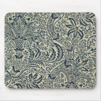 Wallpaper with navy blue seaweed style design mouse pad
