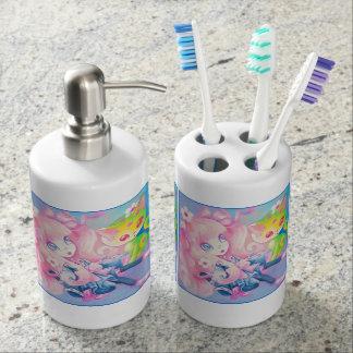Wamono Japanese Girl With Kawaii Kitten Soap Dispenser And Toothbrush Holder