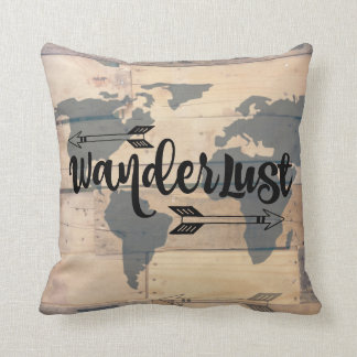 Wanderlust Rustic Wood Travel Throw Pillow