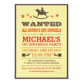 Wanted Country Western Cowboy Birthday Invitation