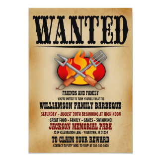 Wanted Poster Family Barbeque Invitations