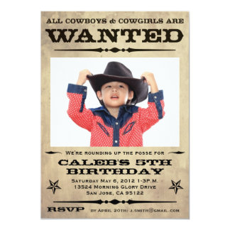 Wanted Poster Kids Party Card