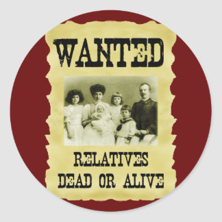 Wanted Poster Round Sticker