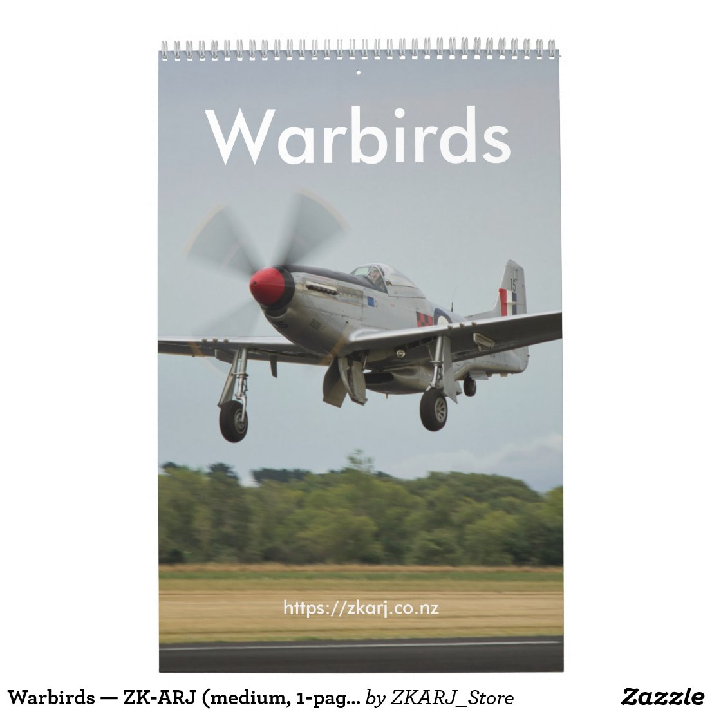 Warbirds — ZK-ARJ (medium, 1-page month) Calendar