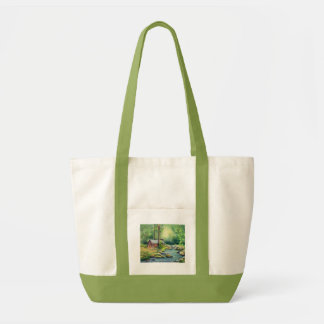 WARM CABIN in the WOODS by SHARON SHARPE Tote Bag