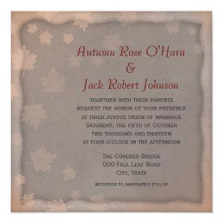 Warm Grey Brown Autumn Leaf Wedding Invitations