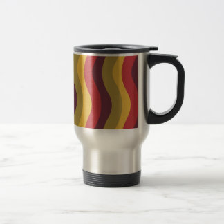 Warm Red Mix Wavy Stripes Travel Mug