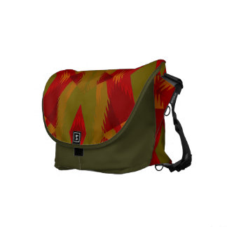 Warm Retro Pattern in Olive Gold Red Commuter Bag