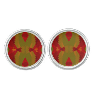 Warm Retro Pattern in Olive Gold Red Cuff Links