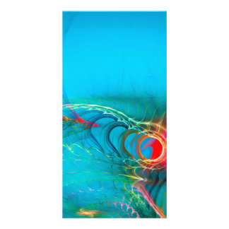 Warming Up the Blues, Digital Abstract Art Picture Card