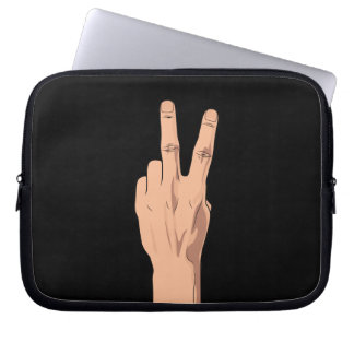 WARNING NOT  Victory Peace Sign Hand Sign Gesture Laptop Sleeve